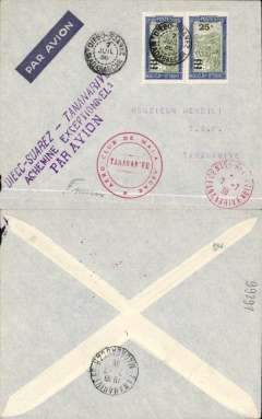 """(Madagascar) Internal airmail, Diego Suarez to Tananarive,  bs 7/7, imprint etiquette cover franked 50c, canc Diego Suarez cds, red circular 'Aero-Club de Madagascar/Tananarive' cachet, fine strike three line """"Diego Suarez-Tananarive/Achemine Exceptionel/Par Avion"""" - a handstamp for internal carriage by military planes without air fee. Therefore corectly rated 50c for 20g by surface. Nice item."""