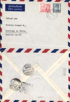 """(Chile) BSAA into Santiago from Prague, bs 28/6, airmail cover franked 11.50Kc, verso bilingual hs """"Dodging military service is deserting one's country"""". The transit time could only have been achieved by a joint BEA/BSAA service the BSAA flight leaving London on Wednesday 25th. An interesting item on two counts - BSAA westbound airmail is scarce, and the strong feelings in Chile about draft evasion. Chile was one of the first countries in Latin America to introduce compulsory military service (SMO), through the Recruit and Replacement Act of 1900."""