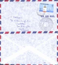 (Falkland Is) Air cover to UK, carried on F/F from Cape Pembroke Airfield, large triple circle confirmatory cachet, franked 11p canc Port Stanley cds.