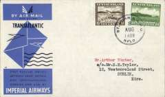 (Newfoundland) Scarcer Imperial Airways F/F Transatlantic Service, Botwood to Foynes, bs 11/8, official bue/grey IAW souvenir cover franked 30c. Only a few exist as most were flown out by PAA Northern service to arrive in time.