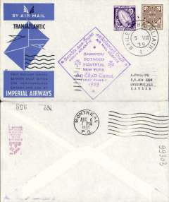 (Ireland) Scarcer F/F North Atlantic Service, Foynes to Montreal, bs 6/8, official cachet, official cover, Imperial Airways. Baldwin 559e.