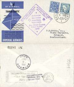 (Ireland) Scarcer F/F Imperial Airways North Atlantic Service, Foynes to Botwood, bs 6/8, official cachet, official blue/grey IAW souvenir cover, Imperial Airways. Baldwin 559d.