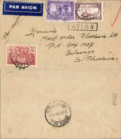 (Belgian Congo) Elisabethville to Bulawayo, bs 21/12, airmail etiquettte cover franked 4F75, black boxed 'Avion' hs. Carried to Broken Hill by Aero Club du Katanga, then by Imperial Arways to Bulawayo.