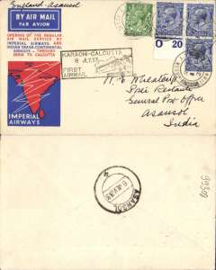 "(GB External) Imperial Airways/India Trans-Continental Airways, first regular service London to Asansol, bs 8/7, also boxed rect ""Karachi-Calcutta/8 Jly 33"" arrival/transit cachet on front, imprint etiquette airmail cover franked 8d, canc London FS/Air Mail cds, ms ""England-Asansol"". Small mail, Newall 33.13 C4 80 units."