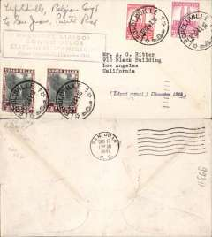 (Belgian Congo) Pan Am clipper service USA to Africa, F/F FAM 22, Leopoldville to San Juan, bs 17/12, purple cachet. This strategically important service, linking Africa and the USA, opened just at the critical time when Japan attacked Pearl Harbour and the USA went to war.