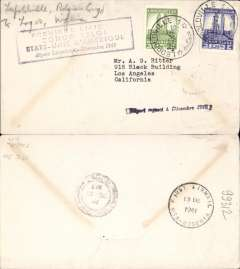 (Belgian Congo) Pan Am clipper service USA to Africa, F/F FAM 22, Leopoldville to Lagos, 13/12, purple cachet. This strategically important service, linking Africa and the USA, opened just at the critical time when Japan attacked Pearl Harbour and the USA went to war.