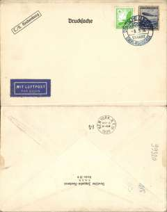 "(Airship) Hindenburg First North America Flight, Germany to New York, bs 9/5, black/white ""L/S Hindenburg/German Zeppelin Ship Brokers"" company cover franked 55pf, canc blue 'Deutsche Luftpost/8.5.36/ Europa-Nordamerika' on board postmark. Some perf toning on 50pf Zeppelin stamp. Scarce stationary item"