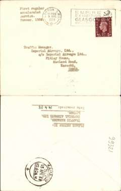 "(GB External) Imperial Airway test letter from the Traffic Manager Imperial AW London to the Traffic Manager Imperial AW Karachi, carried on the first service on new accelerated England-India-Australia service, London to Karachi, bs 13/4, plain cover, franked 1 1/2d, typed ""First regular accelerated service, Summer 1938"". IAW Flight IE643, see Wingent, p41."