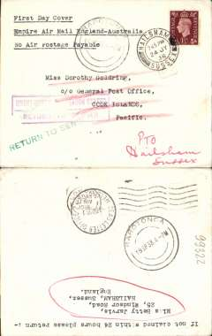 "(GB External) Imperial Airways F/F Third Stage EAMS, London to Cook Islands, no arrival ds, violet framed 'Return to Sender' ha, Rarotonga 19 SP and 14 Oct 38 return postmarks, Wellington, NZ 1.NO.38 Dead Letter Office cds, and London 24 NO 1938 return postmark, plain cover franked 1 1/2d, typed ""First Day Cover/Empire ir Mail England-Australia/No Air Postage Payable"". Intersting."