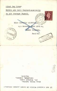 "(GB External) F/F Third Stage Empire Air Mail Scheme, London to New Hebrides, 23/9 arrival confirmation ds on  front, plain cover franked 1 1/2d, typed ""First Day Cover/Empire Air Mail England-Australia/No Air Postage Payable"", Imperial Airways."