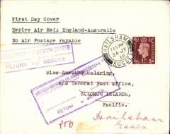 "(GB External) F/F Third Stage Empire Air Mail Scheme, London to Solomon Islands, 3/9 Dead Letter Office arrival ds, plain cover franked 1 1/2d, typed ""First Day Cover/Empire Air Mail England-Australia/No Air Postage Payable"", Imperial Airways."