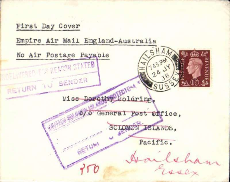 """(GB External) F/F Third Stage Empire Air Mail Scheme, London to Solomon Islands, 3/9 Dead Letter Office arrival ds, plain cover franked 1 1/2d, typed """"First Day Cover/Empire Air Mail England-Australia/No Air Postage Payable"""", Imperial Airways."""