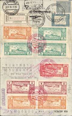 "(Paraguay) Registered (label verso) commercial air cover to Hamburg, 4/9 arrival ds on front, 'Stuttgart/Deutsche Luftpost Sudamerika-Europa/3.9.34' transit cds, fine strikes red circular 'Condor/Zeppelin/Lufthansa/Paraguay-Europa"" x3, franked 31P50, flown 1/7 on DLH flight L 24 - last mid ocean landing/launch. See Graue and Duggan p188. South Atlantic."