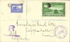 (Newfoundland) Airmail, Grand Falls to England, bs Essex 11/12, via Liverpool 10/12, registered (hs) cover franked 6c and 1931 50c air (SG 104, cat £55 used). Carried by internal airmail in Newfoundland, then by sea to England.