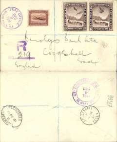 (Newfoundland) Airmail, Grand Falls to England, bs Essex 11/12, via Liverpool 10/12, registered (hs) cover franked 6c and 1931 15c air x2 (SG 103, cat £28 used). Carried by internal airmail in Newfoundland, then by sea to England.