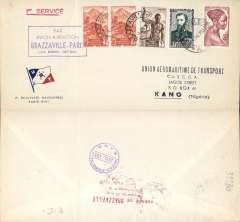 (French Equatorial Africa) UAT Aeromaritime, F/F Comet 1, Brazzaville to Kano, bs 5/7, fine strike violet boxed Brazzavile-Paris (via Kano-Tripoli)  flight cachet, red/white/blue UATcompany cover with flag logo in lower lh corner, franked 17F20. Ironed vertical crease.