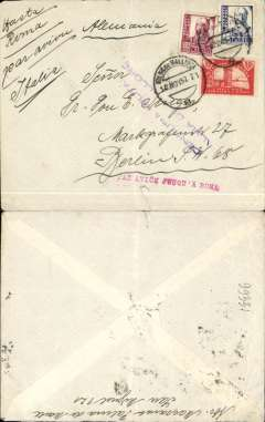 "(Spain Majorca) Censored Spanish Civil War airmail, Palma Majorca to Berlin, no arrival ds, plain cover franked 1P35 (foreign letter rate 50c, air fee to Rome 75c, unemployment tax 10c), canc Palma de Mallorca cds,  fine strike red uncommon ""Par Avion Jusqu'a Roma"" applied in Palma, violet two line ""Censura Militar/Palma de Mallorca"" censor mark. Ms sender's direction ""Hasta Roma/par avion Italia"" - for carriage by  the  Ala Littoria Cadiz-Mellila-Mallorca-Rome airmail route serving Nationalist areas of Spain."