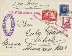 "(Spain Majorca) Censored Spanish Civil War airmail, Palma Majorca to Germany, no arrival ds, plain cover franked 1P35 (foreign letter rate 50c, air fee to Rome 75c, unemployment tax 10c), canc Palma de Mallorca cds,  fine strike red uncommon ""Par Avion Jusqu'a Roma"" applied in Palma, red two line ""Censura Militar/Palma de Mallorca"" censor mark. Carried on the  Ala Littoria Cadiz-Mellila-Mallorca-Rome airmail route serving Nationalist areas of Spain.  Nice item."