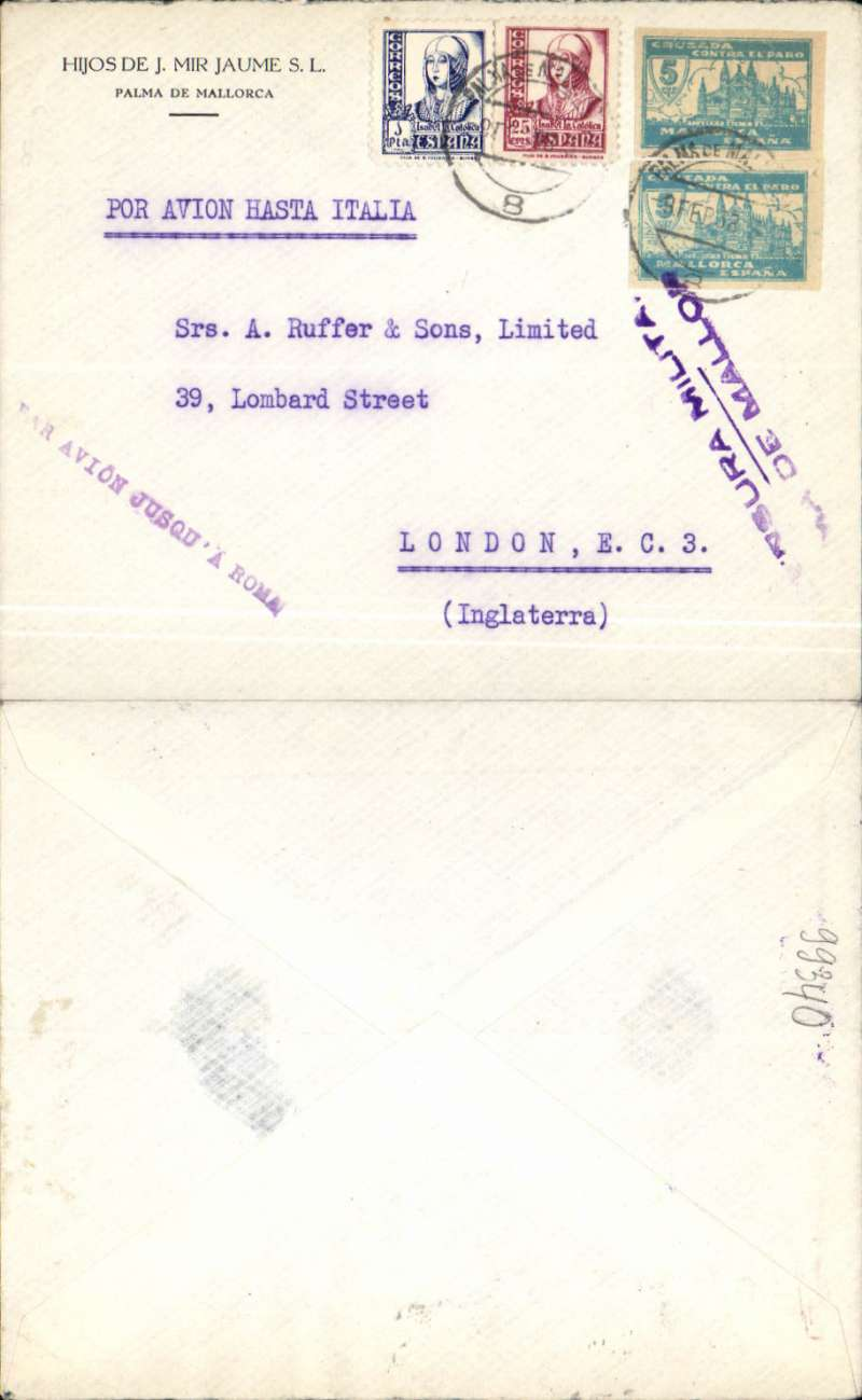 """(Spain Majorca) Censored Spanish Civil War airmail, Palma Majorca to London, no arrival ds, commercial corner plain cover franked 1P35 (foreign letter rate 50c, air fee to Rome 75c, unemployment tax 10c), canc Palma de Mallorca cds, fine strike uncommon purple """"Par Avion Jusqu'a Roma"""" applied in Palma, purple two line """"Censura Militar/Palma de Mallorca"""" censor mark, typed """"Por Avion Hasta Italia"""" instruction.  Great Britain had no official postal relationship with the Nationalist (Franco) government and, hence, with Palma de Mallorca. But those in the know used the  Italian Ala Littoria seaplane Cadiz-Mellila-Mallorca-Rome airmail route serving Nationalist areas of Spain."""