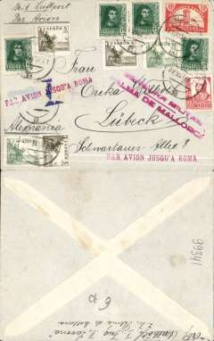 "(Spain Majorca) Censored Spanish Civil War airmail, Palma Majorca to Germany, no arrival ds, plain cover franked 1P35 (foreign letter rate 50c, air fee to Rome 75c, unemployment tax 10c), canc Palma de Mallorca cds,  fine strikes x2 red uncommon ""Par Avion Jusqu'a Roma"" applied in Palma (the airmail etiquette has been removed to Make room for the Jusqu'a cachet), red two line ""Censura Militar/Palma de Mallorca"" censor mark. Carried on the  Ala Littoria Cadiz-Mellila-Mallorca-Rome airmail route serving Nationalist areas of Spain.  Nice item."