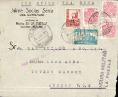 "(Spain Majorca) Front only, Censored Spanish Civil War airmail, Palma Majorca to London, no arrival ds, commercial corner plain cover franked 1P35 (foreign letter rate 50c, air fee to Rome 75c, unemployment tax 10c), canc La Puebla cds, fine strike scarce red ""Par Avion Jusqu'a Roma"" with umlaut over the 'A', uncommon black two line ""Censura Militar/La Puebla"" censor mark, typed ""Por Avion Via Roma"" instruction.  Great Britain had no official postal relationship with the Nationalist (Franco) government and, hence, with Palma de Mallorca. But those in the know used the  Italian Ala Littoria seaplane Cadiz-Mellila-Mallorca-Rome airmail route serving Nationalist areas of Spain."