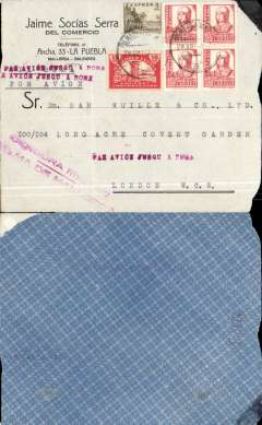 "(Spain Majorca) Front only, Censored Spanish Civil War airmail, Palma Majorca to London, no arrival ds, commercial corner cover franked 1P35 (foreign letter rate 50c, air fee to Rome 75c, unemployment tax 10c), canc Palma de Mallorca cds, fine strike  red ""Par Avion Jusqu'a Roma"" x3, red two line ""Censura Militar/Pama de Mallorca"" censor mark.  Great Britain had no official postal relationship with the Nationalist (Franco) government and, hence, with Palma de Mallorca. But those in the know used the  Italian Ala Littoria seaplane Cadiz-Mellila-Mallorca-Rome airmail route serving Nationalist areas of Spain. Small lower rh corner defect."