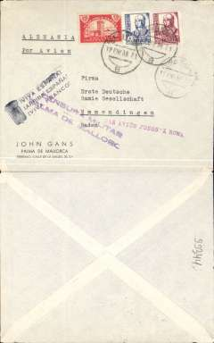 "(Spain Majorca) Censored Spanish Civil War airmail, Palma Majorca to Germany, no arrival ds, plain cover franked 1P35 (foreign letter rate 50c, air fee to Rome 75c, unemployment tax 10c), canc Palma de Mallorca cds, red ""Par Avion Jusqu'a Roma"" applied in Palma, violet two line ""Censura Militar/Palma de Mallorca"" censor mark, black trilingual Franco slogan hs. Carried on the  Ala Littoria Cadiz-Mellila-Mallorca-Rome airmail route serving Nationalist areas of Spain.  Nice item."