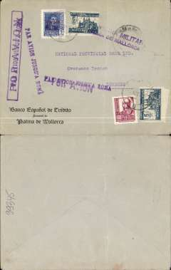 "(Spain Majorca) Censored Spanish Civil War airmail, Palma Majorca to London, no arrival ds, bank corner cover franked 1P35 (foreign letter rate 50c, air fee to Rome 75c, unemployment tax 10c), canc Palma de Mallorca cds, fine strike  purple ""Par Avion Jusqu'a Roma"" x3, purple two line ""Censura Militar/Pama de Mallorca"" censor mark, large 'Par Avion'hs's x2.  Great Britain had no official postal relationship with the Nationalist (Franco) government and, hence, with Palma de Mallorca. But those in the know used the  Italian Ala Littoria seaplane Cadiz-Mellila-Mallorca-Rome airmail route serving Nationalist areas of Spain."