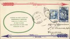 (United States Internal) F/F US Army Emergency Service over Contract Airmail Routes AM 17 & 19, San Francisco 6pm-Chicago 22/2, souvenir cover franked usual rate of 8c.