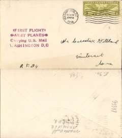 (United States Internal) F/F US Army Emergency Service over Contract Airmail Route AM11 from Washington 10.30pm, plain cover franked usual rate of 8c, purple four line emergency flight cachet..