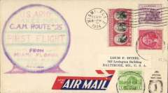 (United States Internal) F/F US Army Emergency Service over Contract Airmail Route AM 25,  Maimi 6pm to Baltimore, souvenir cover franked usual rate of 8c.