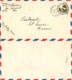 (United States Internal) F/F US Army Emergency Service over Contract Airmail Route AM 34,  Kansas City 5.30pm to St Louis, airmail 8c PSC. Ironed vertical crease.