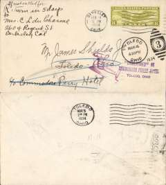 (United States Internal) F/F US Army Emergency Service over Contract Airmail Route AM 17&18,  Berkley, CA 5pm to Toledo, OH, plain cover franked usual rate of 8c.