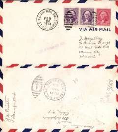 (United States Internal) F/F US Army Emergency Service over Contract Airmail Route AM 34 from St Louis AMF to kansas City, bs 21/s. airmail cover franked usual rate of 8c.