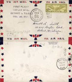 (United States Internal) F/F US Army Emergency Service over Contract Airmail Route AM 27 from Detroit 3pm to Toledo 20/2 7.30pm, airmail cover franked usual rate of 8c, black four line emergency flight cachet..