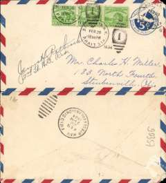 (United States Internal) US Army Emergency Service over Contract Airmail Route AM 17 from Brooklyn, NY 12.30pm to Cleveland, bs 28/2/7pm, airmail cover franked usual rate of 8c. Signed by the pilot 2nd Lt. James H Rathbrook,