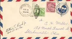 (United States Internal) US Army Emergency Service over Contract Airmail Route AM 17 from Brooklyn, NY 12.30pm to Cleveland, bs 28/2/7pm, airmail cover franked usual rate of 8c. Signed by the pilot 2nd Lt. William S Proch.