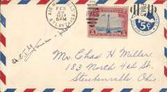 (United States Internal) US Army Emergency Service over Contract Airmail Route AM 23 from Atlanta, posmarked Atlanta AMF 6pm, to Ohio, 5c airmail PSE with additional 5c. Signed by the pilot Lt. ET ?Garneau. Believed to be a crash cover.