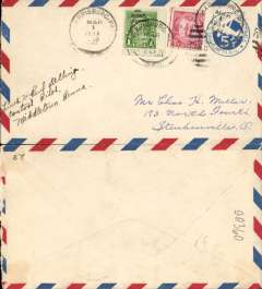 (United States Internal) US Army Emergency Service over Contract Airmail Route AM 17 from Harrisburg Pa 6am to Steubenville, Ohio, airmail 5c PSC with added 3c for usual rate of 8c. Signed by the pilot.