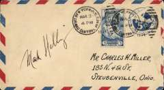 (United States Internal) US Army Emergency Service over Contract Airmail Route AM 17 from Brooklyn, NY 12.30pm to Steubenville, Ohio, airmail PSC cover + 3c for usual rate of 8c. Signed by the pilot.