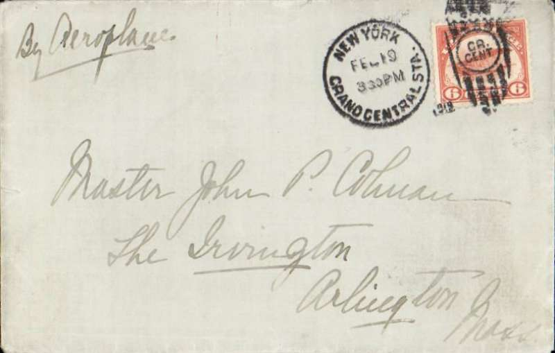 (United States Internal) New York to Arlington, plain cover franked 6c C1, tied 'New York Grand Central Sta/Feb 19' and 'GR/Cent' dumb cancel, ms 'By Aeroplane'.