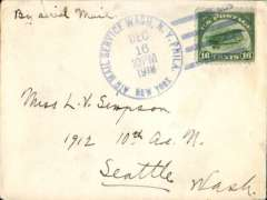 (United States Internal) New York to Seattle, franked 16c C2, tied blue 'Air Mail Service Wash. N.Y.Phila. New York/ Dec 16 10pm', ms 'By Air Mail', posted last day of 16c rate.