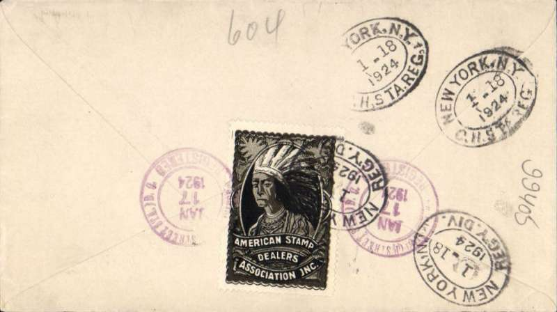 (United States Internal) Washington to New York, bs 18/1, registered cover franked 8c C4 and 2x2c, correctly rated 2c airmail + 10c registration, verso fine black/white American Stamp Dealers Association vignette showing red Indian with feather headress.