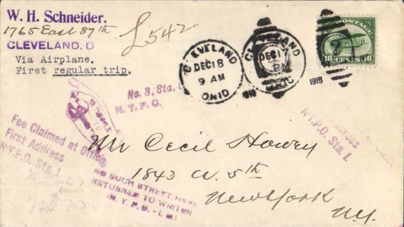 (United States Internal) US Governmental Flight #110c Crash Cover, experimental flight Cleveland-New York, returned 'address not known ' bs New York  Jan 6, 1919, Schneider corner cover franked 16c Curtiss Jenny C2, canc Cleveland/Dec 18/9am/Ohio' cds, also 1918 dumb cancel, violet  three line 'Fee Claimed at Office/First Adress' and 'No such Street' hs's.