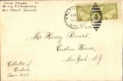 (United States Internal) Army Emergency Air Mail Service Crash Cover #340219, F/F Atlanta to New York, franked 8c, ms 'First Flight/Army Emergency/Air Mail Service'.