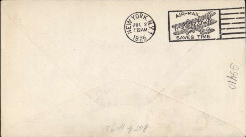 """(United States Internal) Bellefonte to New York, bs 2/7, carried on Government First Overnight Flight #177af, New York-Chicago, plain cover correctly franked new 10c rate  C6 and 2c, canc Air Mail Field Bellefonte cds, black three line """"Air Mail/First Overnight Flight/New York-Chicago, also 'First Flight' hs."""