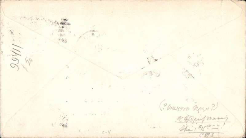 """(United States Internal) Commercial airmail, Chicago to Baltimore, plain cover correctly rated 8c C4 for one zone service, red winged airmail marking. Possibly an unlisted crash cover. Pencil manuscript says """"Plane returned/forwarded by rail"""""""