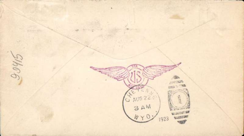 (United States Internal) US Governmental Flight #162, with Night Flying between Cheyenne and Chicago,  New York to Cheyenne,Wyoming, bs 22/8, plain cover franked 16c C2, winged magenta 'US Air Mail hs verso.