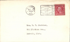 (United States Internal) Plain cover franked 2c canc 5/10/1922, and 'International Aero Congress/Oct 7-12-13-14-1922/Detroit Mich' machine cancellation.
