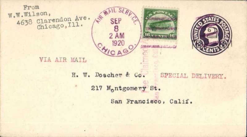 "(United States) Governmental Flight #135b, Special Delivery F/F Chicago to San Francisco, nice strike red San Francisco Special Delivery date stamp verso, PSC with additional c2 tied fine strike violet 'Air Mail Service/Sep 8/2am/1920/Chicago' machine cancel, typed ""Via Air Mail/Special Delivery"", Nice item."